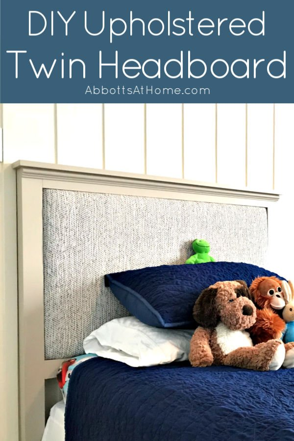Easy steps and how-to build and upholster videos for this DIY Upholstered Twin Headboard. Build the simple frame out of wood. Then upholster the back of the headboard with your favorite fabric.
