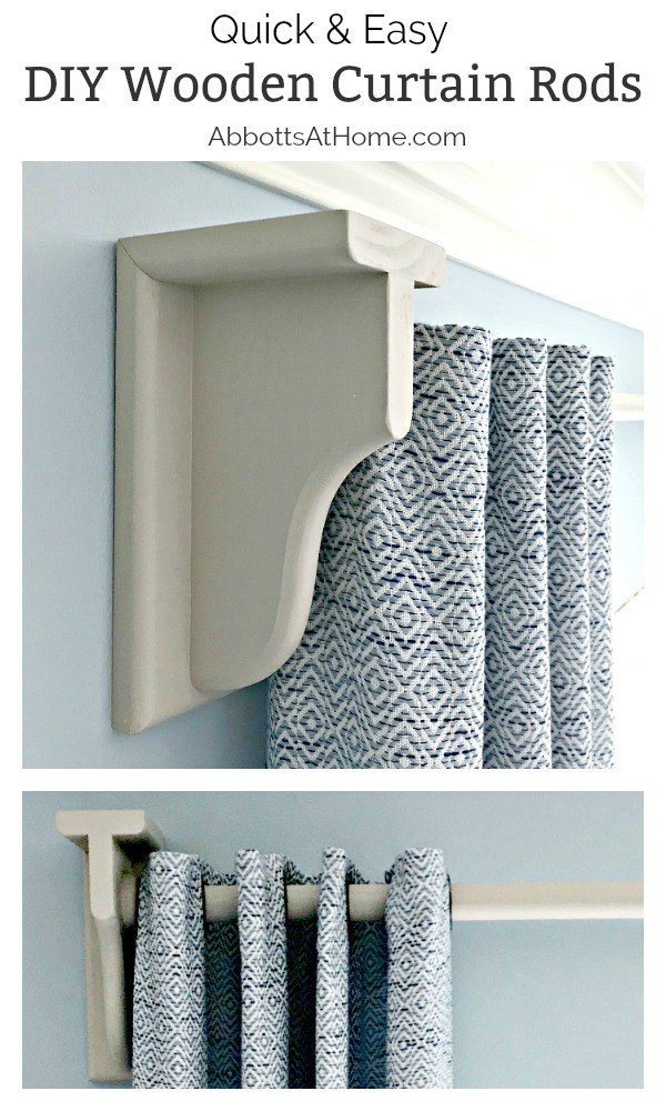 Make your own quick and easy DIY Wooden Curtain Rod and Brackets in an afternoon. #AbbottsAtHome #CurtainRod #DIYProjects #DIYDecor #HomeDecorIdeas #WoodworkingIdeas #WoodworkingforBeginners