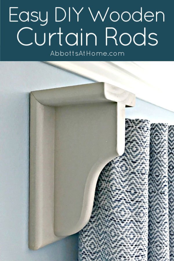 How to build easy DIY wooden curtain rods from shelf brackets and wooden closet rods This is an easy DIY for pretty, chunky curtain rods that you can paint or stain to match any room.