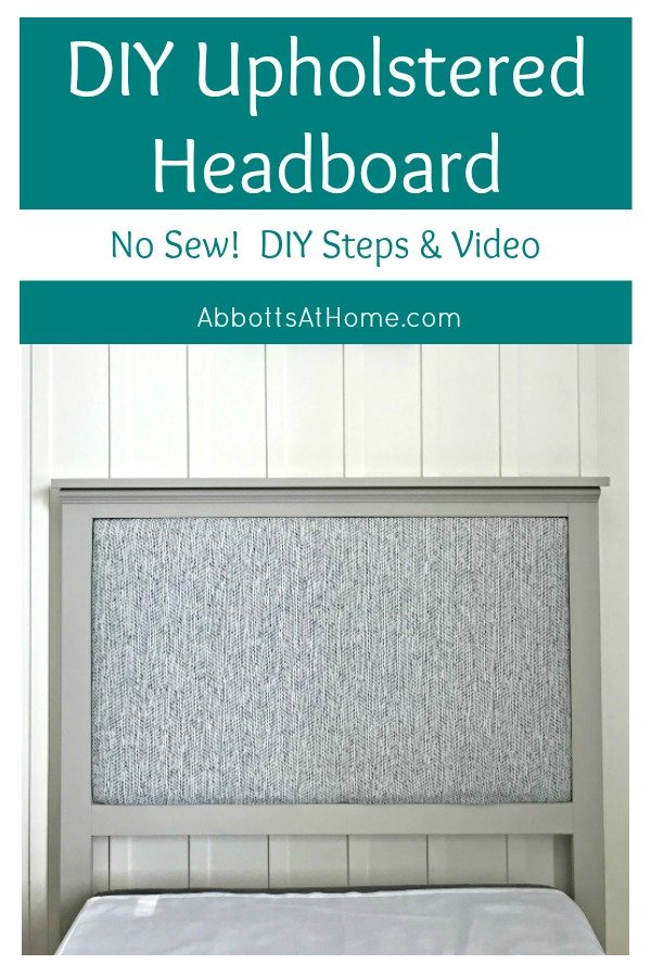 Build this Pretty, No Sew DIY Upholstered Twin Headboard in just a weekend. Includes easy to follow build steps and upholstery how-to videos. #DIYHeadboard #DIYWoodworking #DIYUpholstery #DIYProjects