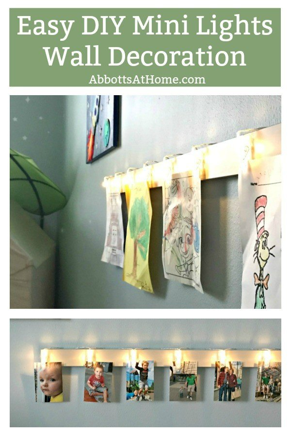 Quick how-to for a Fun and Easy DIY Mini Lights Decoration Idea. I love this wall decoration for bedrooms, college dorms, living rooms, and my office! #AbbottsAtHome #MiniLights #LEDLights #WallDecor #DecorIdeas