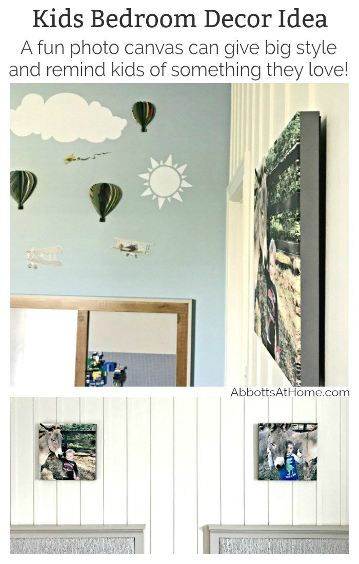 A Fun Photo Canvas Bedroom Decor Idea that gives warm, personalized style to the room. You can find cute decor for any room in your files. Just pick a great, high-quality print that brings back fun memories and have it printed on a Canvas. I had mine done by the Canvas Factory and the quality and look is as amazing as I'd hoped.