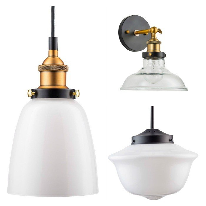 Favorite Milk Glass & Schoolhouse Light Fixtures