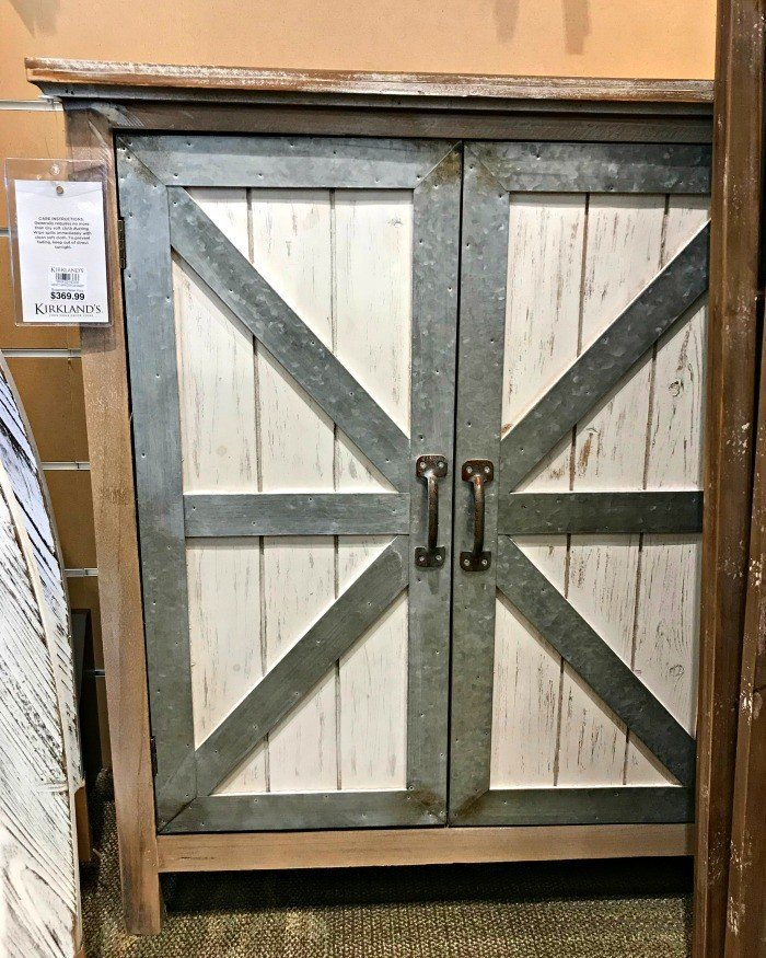 Barn door style cabinet with galvanized detail. This months furniture design ideas and inspiration are partly my own DIY builds and partly great pieces I found at Home Goods and Kirklands. I took these pictures to keep track of nice designs I might want to inspire a future build. Today I'm sharing these furniture design ideas with you!