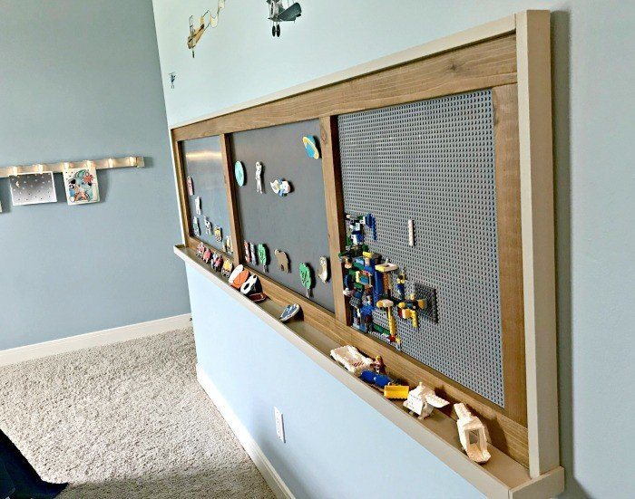 An extra long DIY farmhouse style lego and magnet board for kids. Build a fun DIY Modern Farmhouse Kids Activity Wall Board. With 20 Ideas for board options that work for kids, teens, and adults. #ModernFarmhouse #KidsFurniture #DIYKids #AbbottsAtHome