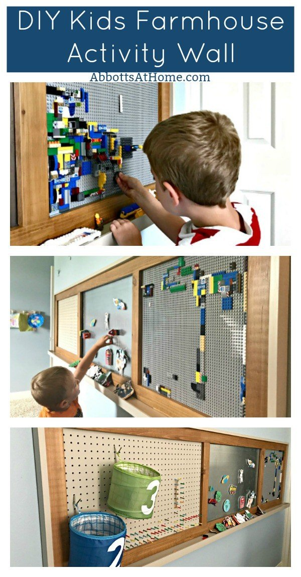 Build this fun DIY Farmhouse Kids Activity Wall. You can pick the actvities that your kids will like, then change them as they get older. From chalkboard, to LEGO, to magnets, to Velcro Ball Targets, to Nerf Basketball, and Felt Dress Up Dolls. Anything works. #AbbottsAtHome #Farmhouse #WoodworkingIdeas #DIYIdeas #KidsRoom #ActivityWall #PlayRoom #FixerUpper