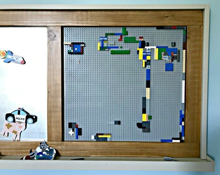 A closer look at the Lego Board my son has been loving. Build a fun DIY Modern Farmhouse Kids Activity Wall Board. With 20 Ideas for board options that work for kids, teens, and adults. #ModernFarmhouse #KidsFurniture #DIYKids #AbbottsAtHome