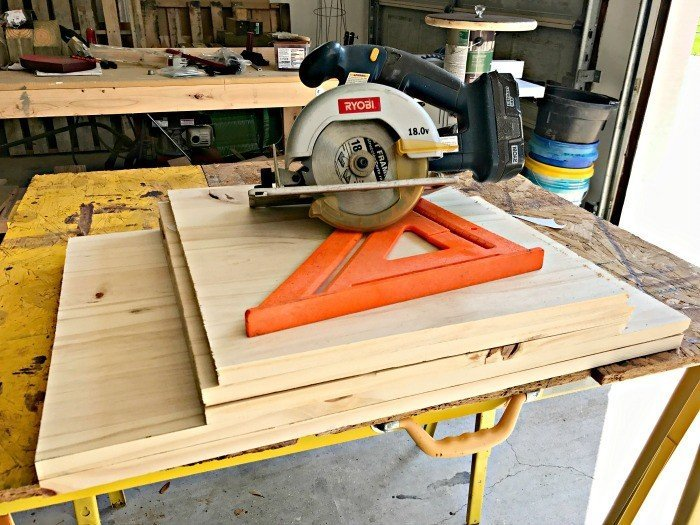 My sides are cut and ready to assemble. Build a Modern Farmhouse DIY Wooden Toy Storage Crate or Box for all of those kids toys cluttering up your house. Makes a beautiful throw pillow and blanket box in a Living Room or catch all storage box for teens too! #AbbottsAtHome #StorageBox #ToyBox #DIYStorage