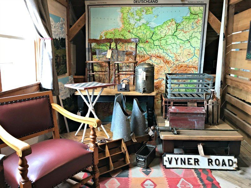 The upper floor at the Humble Donkey. The Spring and Fall Round Top Texas Antiques and Flea Markets are great! BUT you can find Fun, Art & Furniture Shopping in Round Top, Texas year round, guys! Check out photos from the shops in town. #RoundTop #TexasTravel #AbbottsAtHome