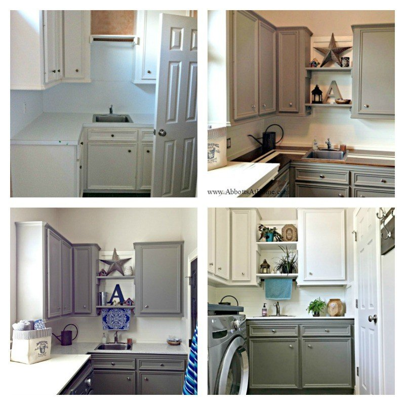 The 4 looks this Laundry Room has had in 6 years. This Modern Farmhouse DIY Laundry Room Makeover Ideas post is full of Before & After Makeover Photos, budget-friendly DIY ideas, and Laundry Room decor. #LaundryRoom #BeforeandAfter #AbbottsAtHome