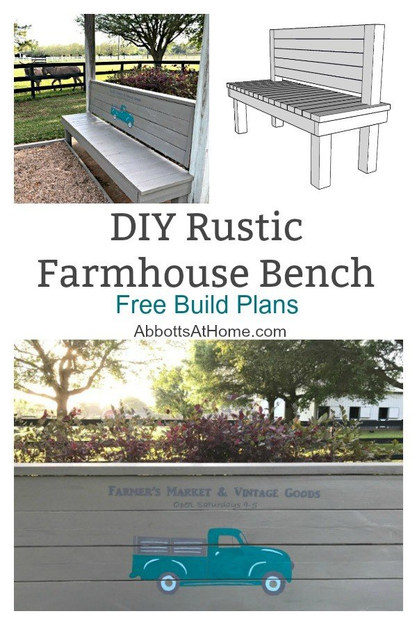 Free Build Plans for a DIY Rustic Bench that can be built for less than $50. No special tools required for this 2x4 based build. Just a saw and a drill. #2x4 #benchplans #furniturebuild #AbbottsAtHome