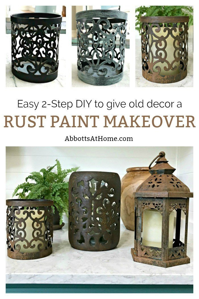 Quick and Easy 2-Step DIY Rust Paint Technique. I love how easy this is, just paint and spray! #PatinaPaint #Rust #DixieBellePaint #AbbottsAtHome
