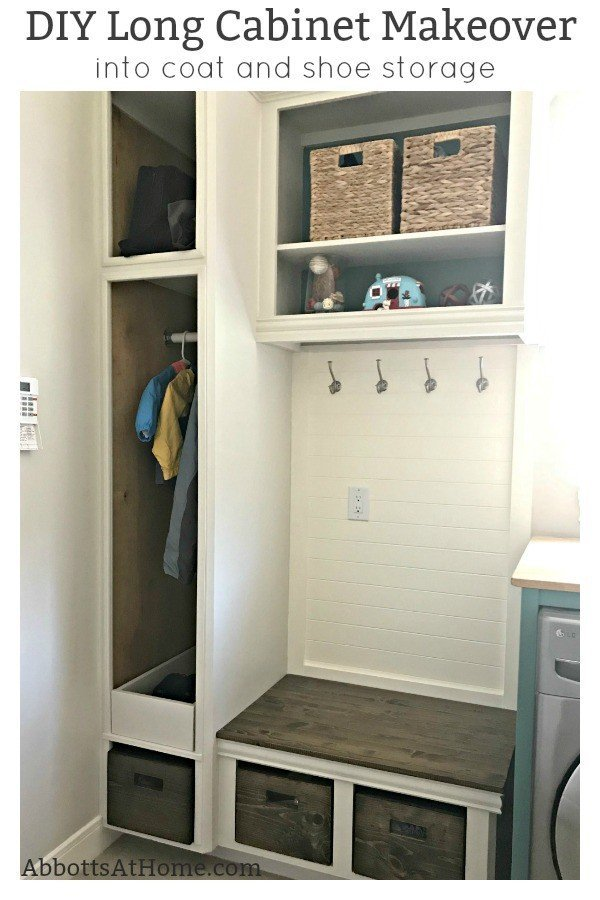 You'll love this DIY Tall Cabinet Makeover into Coat and Shoe Storage. Convert any cabinets into pretty open cabinet storage with these tips and steps that'll make sure your open cabinets look like custom built-ins. #AbbottsAtHome #OpenCabinets #OpenShelves #MudroomIdeas #CabinetMakeover