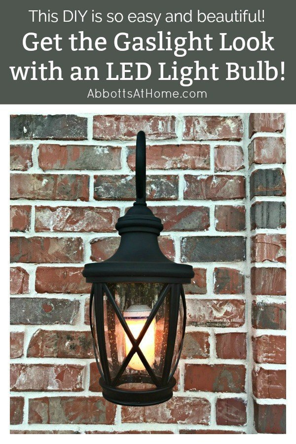 Try this Easy LED Gaslight Light Bulb Front Porch Makeover. This quick DIY will give your front porch instant curb appeal with that classic gaslight look! #AbbottsAtHome #CurbAppeal #FrontPorch #Gaslight #LEDBulb #PorchMakeover