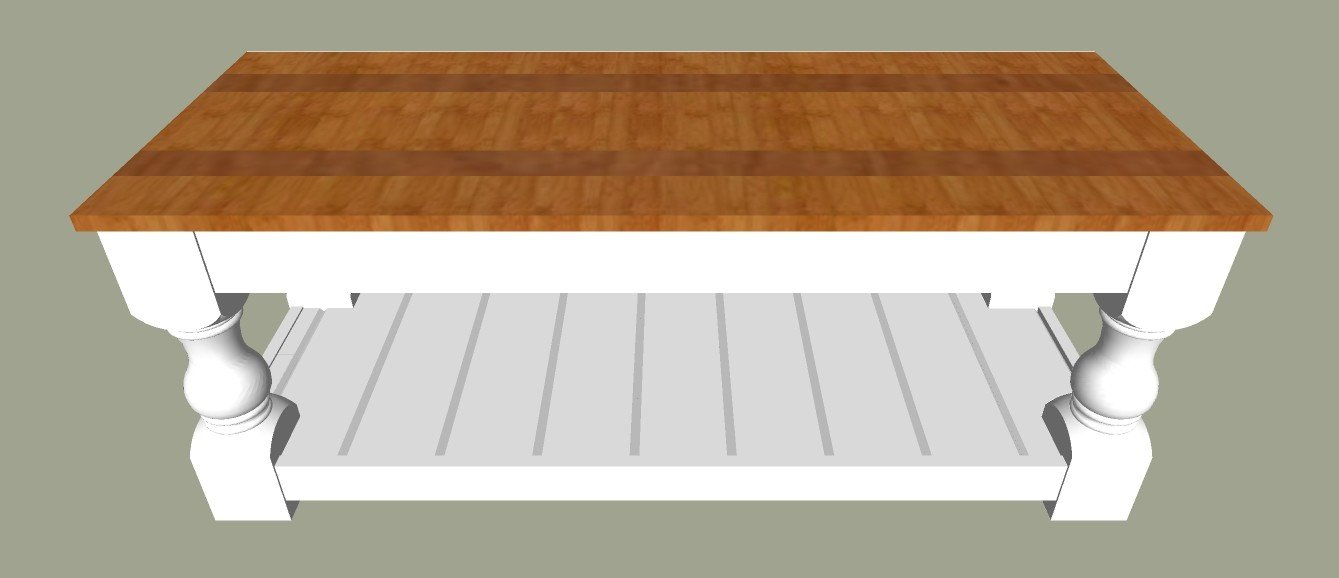 "1"" Thick Farmhouse Plank Top. The printable build plans for my popular Modern Farmhouse Bench are now available. Includes 5 beautiful wood top options to turn it into a pretty Farmhouse coffee table instead. Get the DIY Farmhouse Coffee Table Plans today. #AbbottsAtHome #Bench #CoffeeTable #DIYFurniture #FurniturePlans"