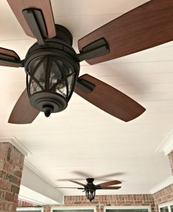 Modern Farmhouse DIY Pine Tongue and Groove Ceiling Tutorial that will turn your porch into that beautiful, charming spot you've always wanted. For most porches, you can have these wood planks installed in a weekend, guys! #AbbottsAtHome #PlankCeiling #PorchCeiling #TongueAndGroove
