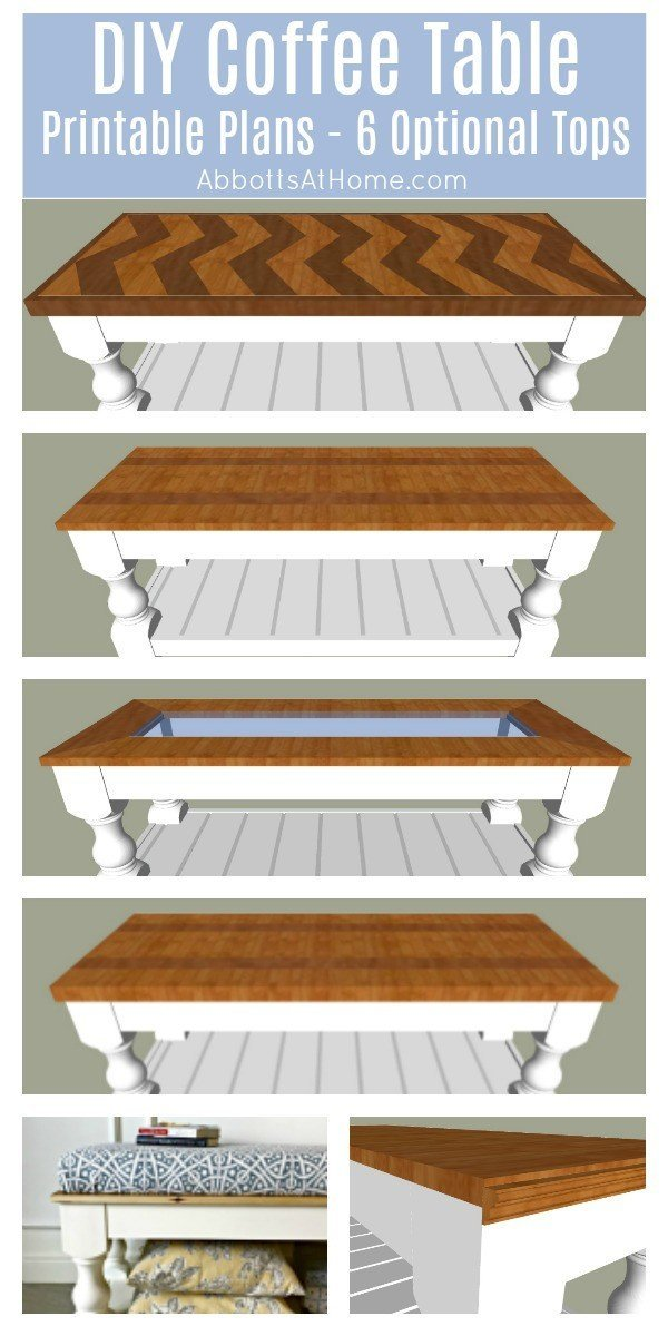 DIY Farmhouse Coffee Table plans - includes printable plans and tutorial for 6 different tops (5 wood and 1 upholstered). DIY Coffee Table Plans a beginner woodworker can build. #DIYFurniture #BuildPlans #CoffeeTable #DIYTable #Woodworking #WoodworkingPlans