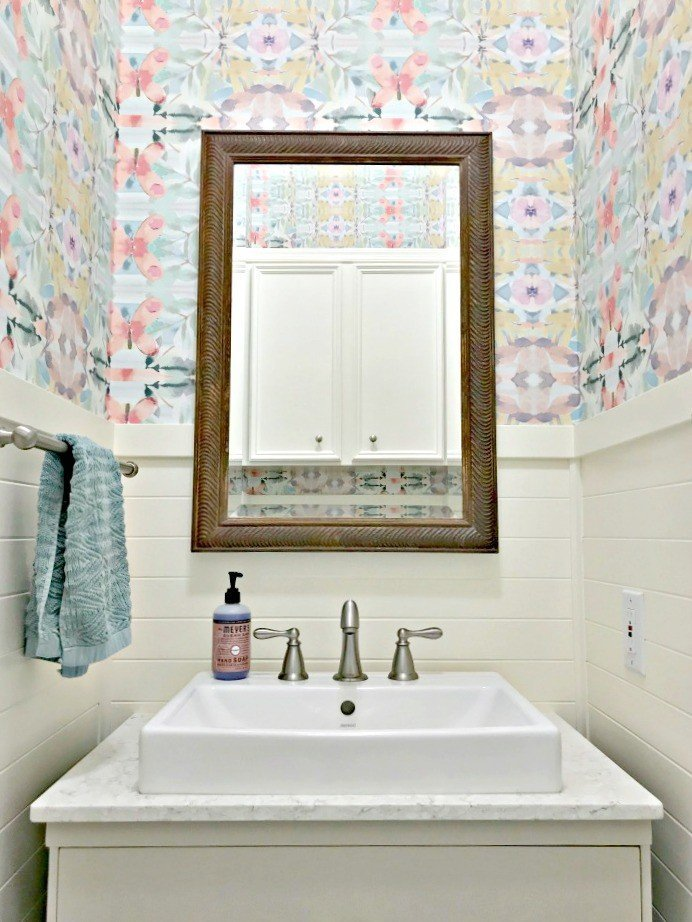 After Photo on a colorful modern farmhouse bathroom.