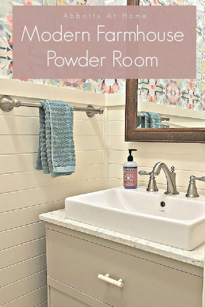 This colorful small modern farmhouse powder room design has the wow factor I've always wanted in a powder room.