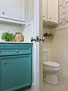 You'll love these Small Colorful Modern Farmhouse Powder Room Ideas! Most of these updates were DIY projects you can do at home. This was my first time hanging wallpaper and I was able to get it done in 1 day! #Wallpaper #AbbottsAtHome #PowderRoom #BathroomIdeas #ModernFarmhouse