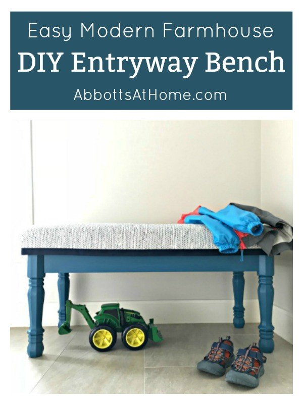 Build an easy Modern Farmhouse Entryway Bench today. Can be painted or stained and upholstered or hard top. This is an easy build for beginners. The legs are from Lowe's. #DIYBench #Entryway #EntrywayBench #UpholsteredBench #BedBench #AbbottsAtHome