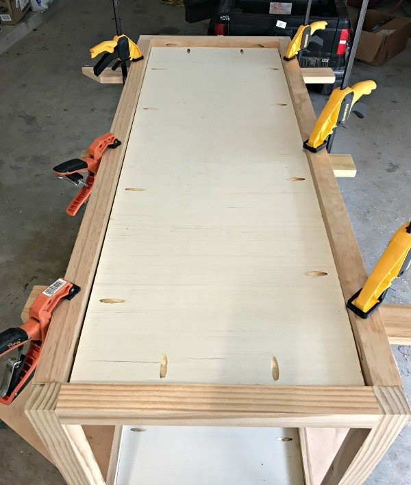 Build your own DIY Farmhouse Console Table with Drawers, today. This tutorial is easy to follow, with loads of pictures. This table would work great as an entry table or in a Dining Room too. #ConsoleTable #EntryTable #DIYFurniture #AbbottsAtHome