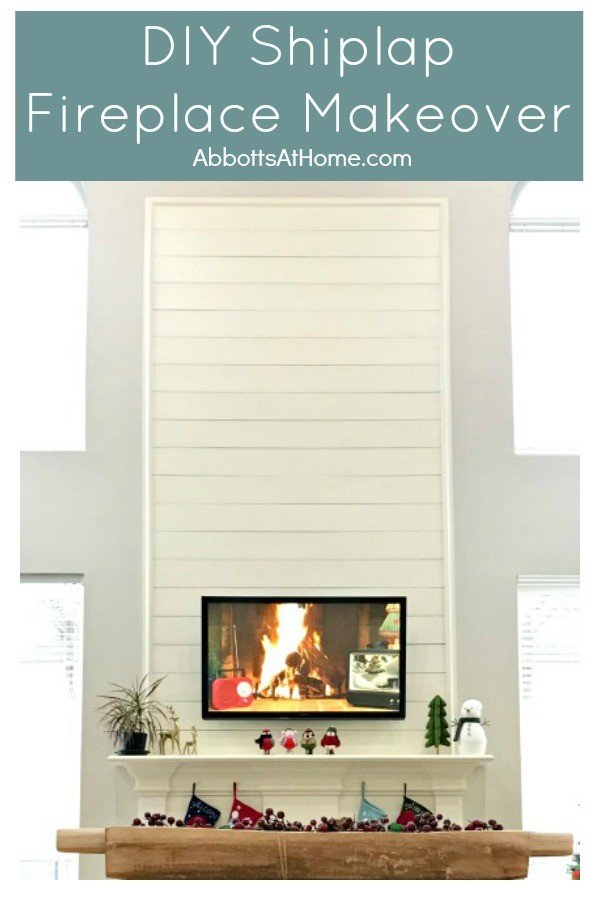 This Shiplap Fireplace Makeover turned our boring fireplace into a beautiful feature in our Living Room. Here's the DIY and story behind ours. #Shiplap #Fireplace #BeforeAndAfter #HomeImprovement #RoomMakeover