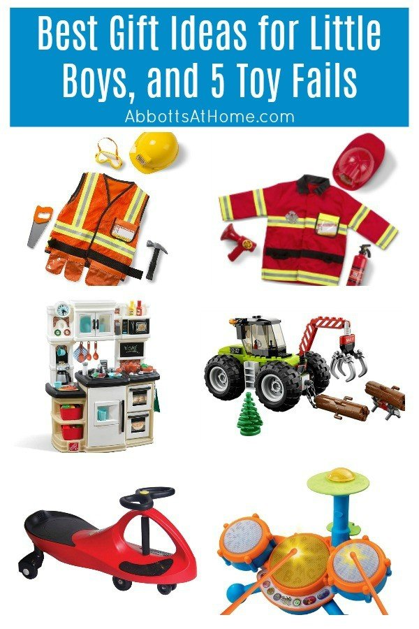 Best Gift Ideas for little boys, plus 5 toy fails that my boys never played with. Birthday and Christmas Gift Ideas for Little Boys - 4 year old boys, 5 year old boys, 6 year old boys, 7 year old boys. #GiftIdeas #BestToys #KidsToys #ChristmasGifts #BoysToys #KidsGiftIdeas #AbbottsAtHome
