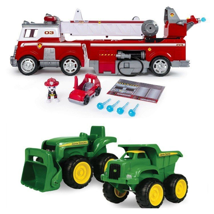 Trucks and Tractors! Here's my big list of Best Toy Gifts for Little Boys. These are the toys my kids actually play with, all the time. Includes small gifts, science kits, art supplies, trucks, and outdoor toys. Plus, 5 toy gift fails. #AbbottsAtHome #BestToys #KidsToys #GiftIdeas #BestGifts #Christmas #Birthday