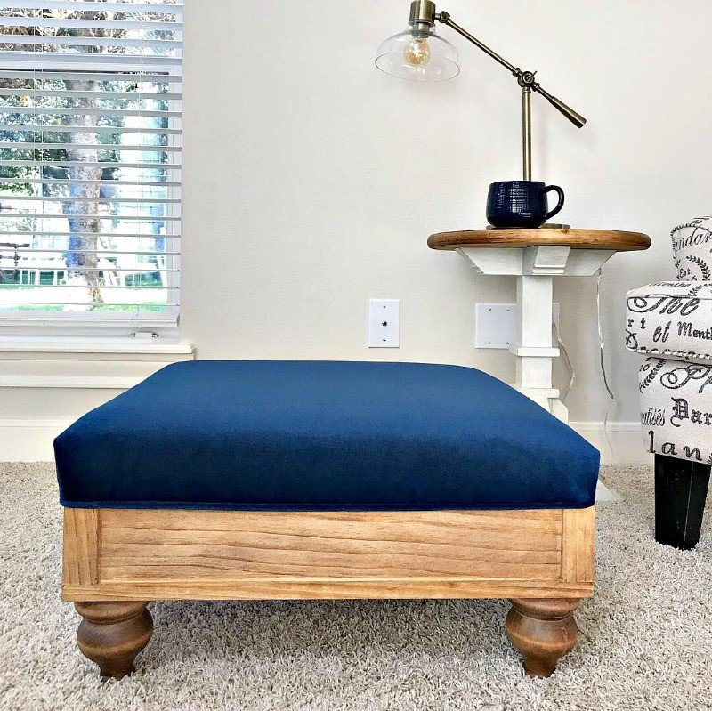 Build this in less than a day! Square DIY Upholstered Ottoman Plans from Scratch, with full tutorial and pictures to help you build a beautiful wood and fabric ottoman in less than a day. Easy build for woodworking beginners. #AbbottsAtHome #DIYFurniture #Ottoman #Velvet #Footstool