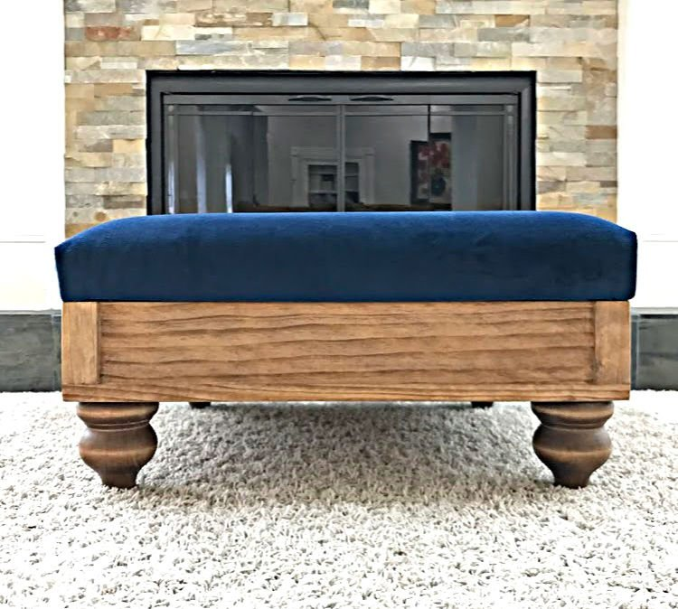 How to Build a DIY Upholstered Ottoman from Scratch. Easy to follow DIY Steps with pictures to help you get it built. Works with ottomans and DIY footstools.
