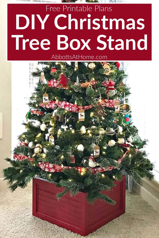 Easy to follow written steps, printable build plans, and how to video for this beautiful DIY Christmas Tree Box Stand. Bonus, this handmade Christmas Tree Box Stand stores your ornaments the rest of the year!