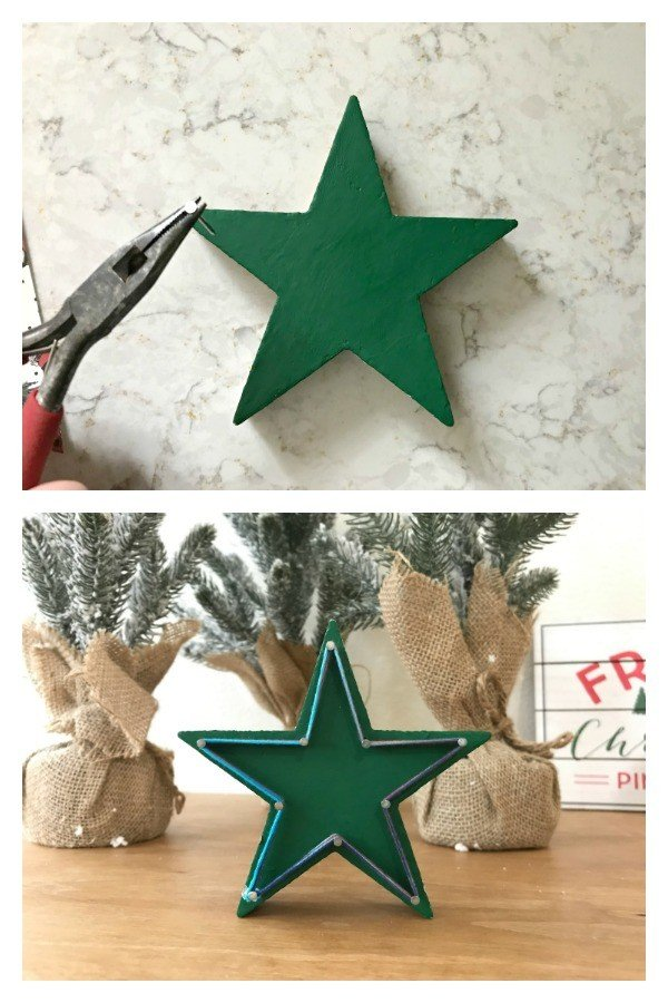 String Art Christmas Ornament. Need some new ideas for this years Christmas craft? I've got 12 fun and easy handmade Christmas Ornament Ideas for you! Make 3D scrapbook paper trees, pom pom trees, star string art, unicorn stars, and more. #AbbottsAtHome #Handmade #ChristmasCrafts #ChristmasIdeas #ChristmasOrnaments