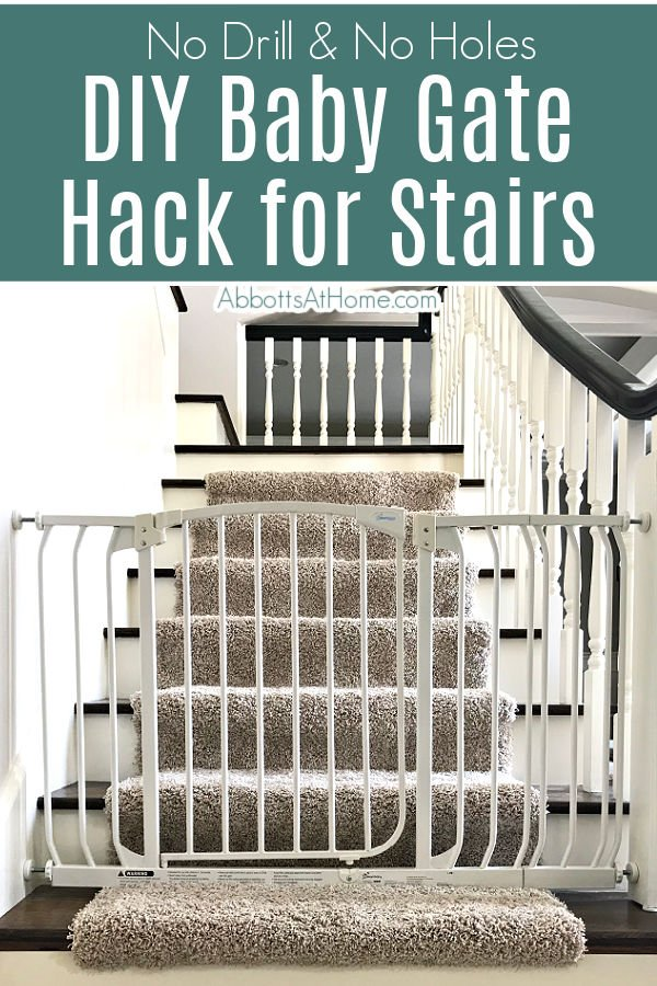 Follow these easy steps for this No Drill DIY Baby Gate Hack for Stairs. We've had this up for 4 years and it's worked great! No drill & no holes!