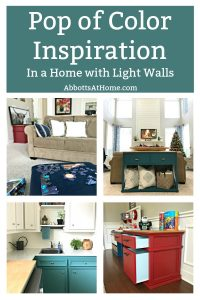 I love the look of light walls with colorful furniture! Here's some fun Pop of Color Decor and Interior Design Inspo for homes with Light or White Walls. #InteriorDesign #AbbottsAtHome #ColorfulHome