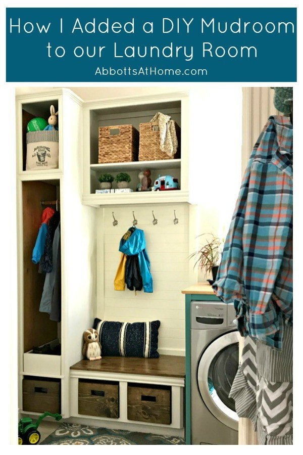 Modern Farmhouse Mudroom. Love this DIY! Here are the cheap and doable DIY projects I used when I Added a Mudroom to our Laundry Room. #LaundryRoom #Mudroom #HomeRemodel #MudroomBench #AbbottsAtHome