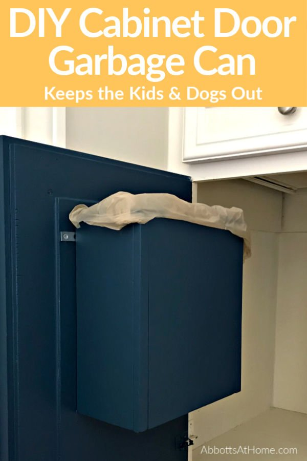 Build a DIY Cabinet Door Mounted Garbage Can to hide that ugly trash away AND keep the toddlers and dogs out of it. Win! Easy build steps and how to video.