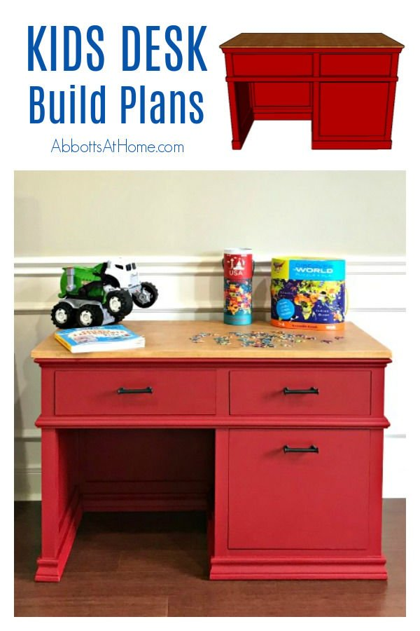Full tutorial, build overview video, and printable plans for this beautiful DIY Childrens Desk Plans with Storage Drawers. How to Build a Kids School Desk with Storage Drawers.