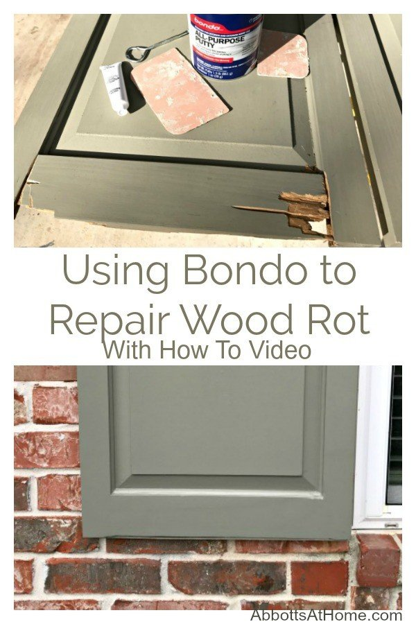 I have to say, using Bondo to Repair Wood Rot saved our Exterior Shutters. Here are my easy to follow steps and a quick video of the repair work. This is an easy DIY, guys! #AbbottsAtHome #Bondo #WoodRepair #WoodRot #RottenWood