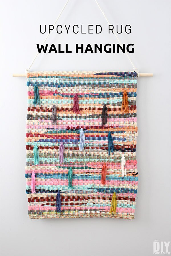 Best DIY Upcycle Ideas - Rag Rug Wall Hanging Makeover