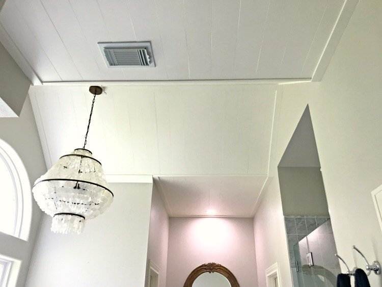 DIY Plywood Plank Ceiling Installation, in our Bathroom