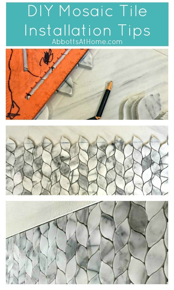 The one thing you absolutely have to do to DIY a professional look when installing tile! DIY Mosaic Tiling Tips - Installing Mosaic Tile DIY #AbbottsAtHome #DIY #Tile #Tiling #BathroomMakeover