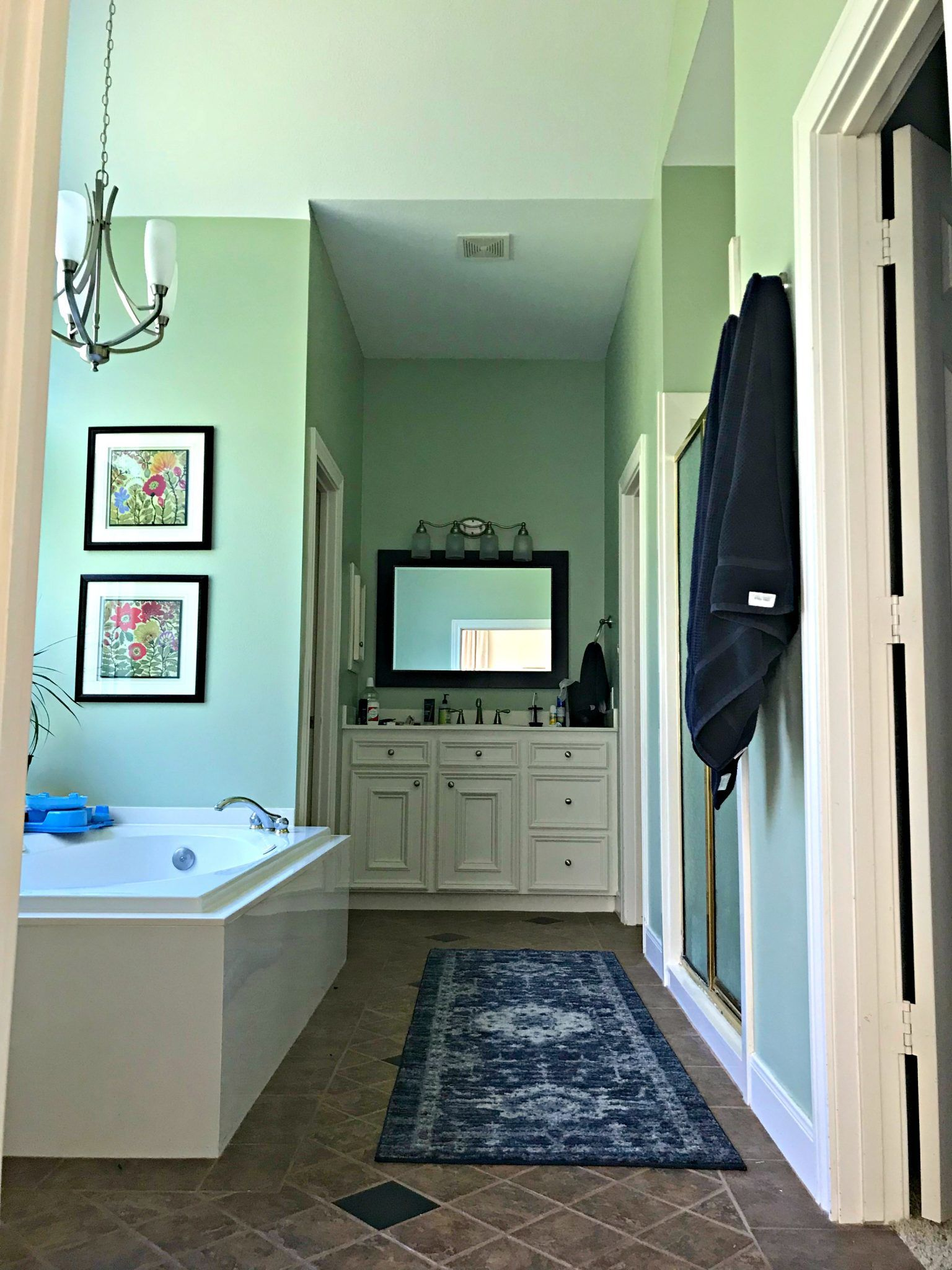 Yay! Our Bathroom Remodel is finished and I finally get to share all of the Before and After Master Bathroom Remodel photos with you guys.  This is a before photo.