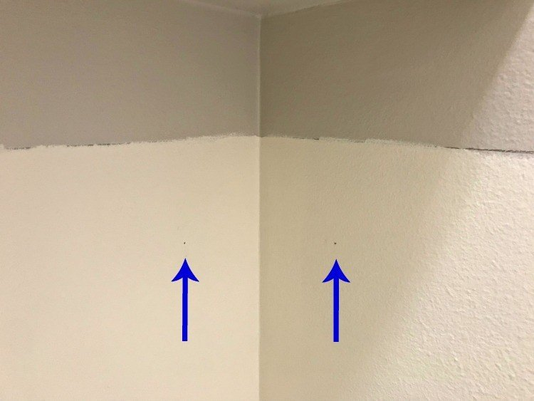 Pencil Marks on wall to mark where to place moulding.