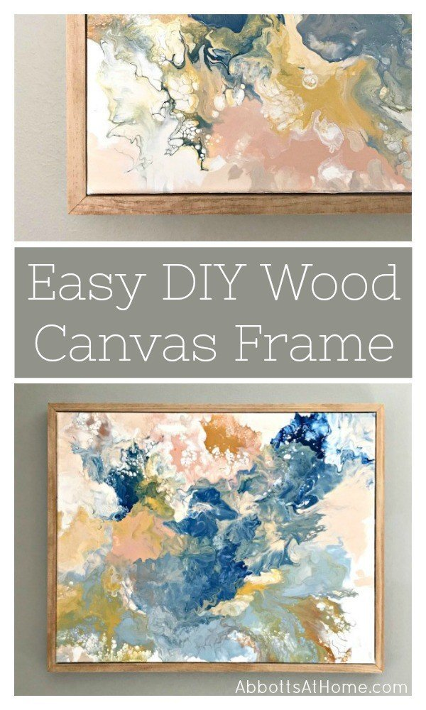 Build this quick and easy DIY wood frame for canvas or wood wall art. Includes steps and video tutorial. This DIY wooden frame has a clean and simple design using 1x2 lumber. #AbbottsAtHome #woodworkingideas #frame #diyprojects #woodworkingprojects #diydecor
