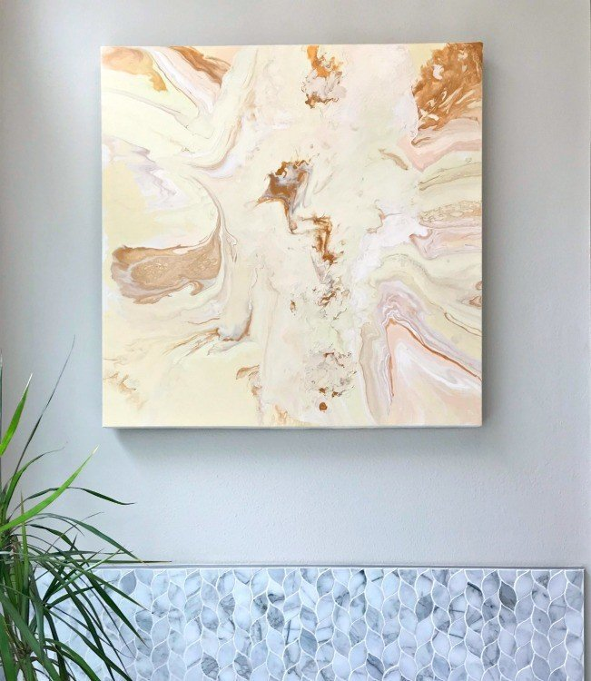 I love a good upcycle, guys! Here's how to paint over an old canvas with DIY Acrylic Pour Art. Reuse or repurpose an old canvas with your own DIY Wall Art Project. #WallArt #CraftProjects #DIYProjects #DIYArt #AcrylicPour #AcrylicPaint