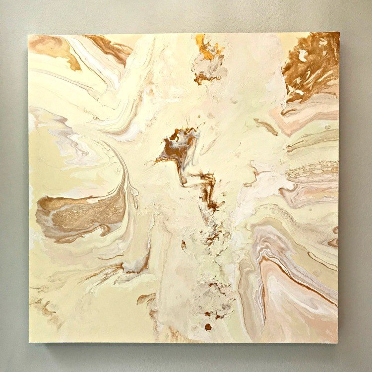 Reuse or repurpose old canvas prints with these DIY Acrylic Pouring Steps. And, how I saved this one from a near fail. #AbbottsAtHome #DIYArt #ArtProjects #ArtsAndCrafts #DIYHomeDecor