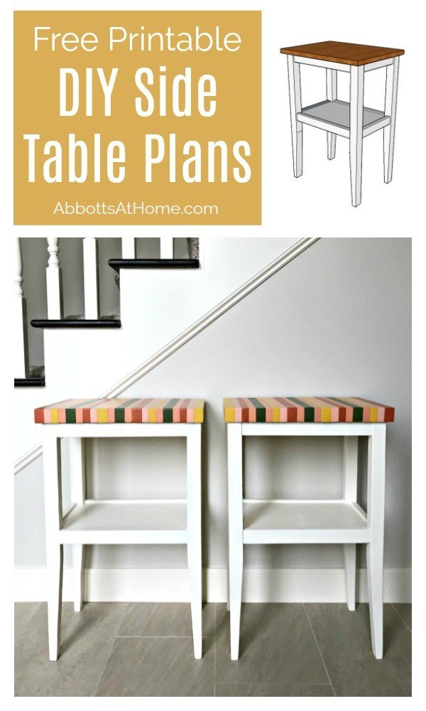 Side Table Build Plans - great for beginner woodworkers. This build uses the Kreg Jig and less than $30 in materials. Yay! Grab the free printable plans and see the full DIY Side Table steps. #woodworking #diyfurniture #sidetable #accenttable #diyprojects #AbbottsAtHome