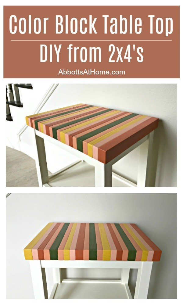 Build a unique, pretty & super cheap table top with this Wood Color Block Table Top DIY tutorial, using 2x4's. #Woodworking #AbbottsAtHome #DIYprojects #DIYFurniture