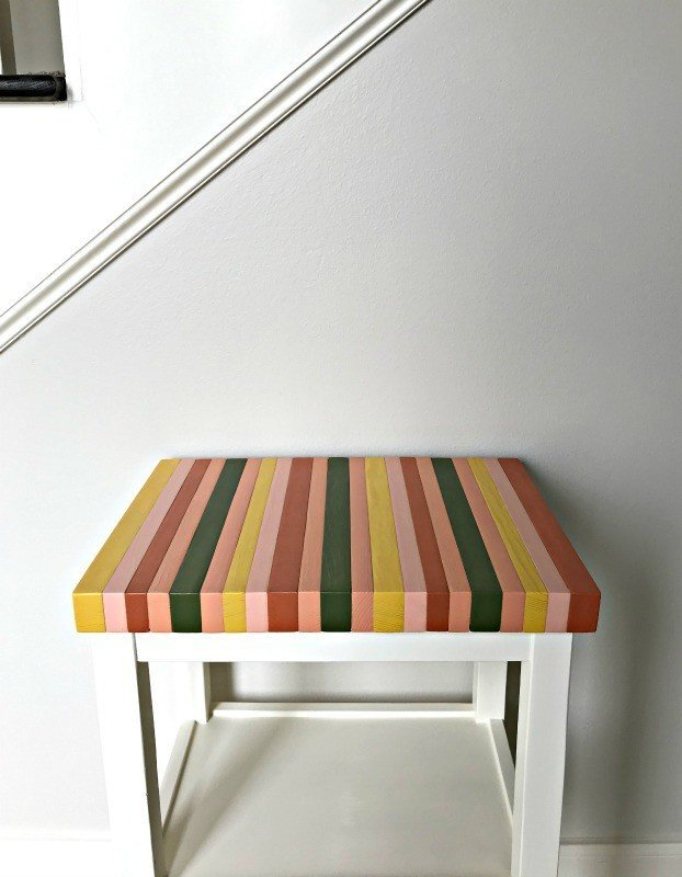 How to build a colorful table top using 2x4 pine studs and acrylic paints. Wood Color Block Table Top DIY tutorial, using cheap pine 2x4's! #woodworkingprojects #woodprojects #woodart #diyfurniture #AbbottsAtHome
